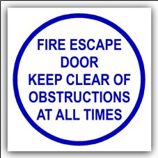 1 x Fire Escape Door Keep Clear Of Obstructions At All Times-87mm,Blue on White-Health and Safety Security Door Warning Sticker Sign-87mm-Blue on White